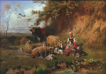 Gebler / Girl with sheep / 1882 by AKG  Images
