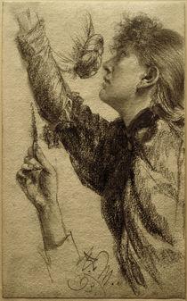 A. v. Menzel, Studie zu einer jungen Frau mit erhobenem Arm by AKG  Images