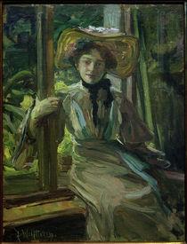 Julie Wolfthorn, Mädchen mit Hut vor offenem Fenster von AKG  Images