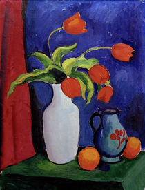 August Macke / Red Tulips in White Vase by AKG  Images