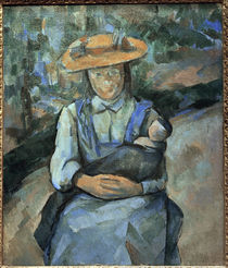 P.Cézanne / Young girl with doll. by AKG  Images