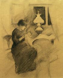 August Macke, Nähendes Mädchen b. d. Lampe von AKG  Images