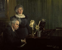 Edvard Grieg and wife / Painting by Kröyer. by AKG  Images