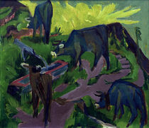 E.L.Kirchner / Cows during Sunset / 1919 by AKG  Images