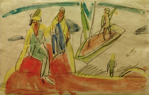Ernst Ludwig Kirchner, People and a boat at the beach by AKG  Images