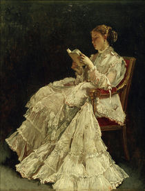 Woman Reading / A. Stevens / Painting, c.1865 by AKG  Images