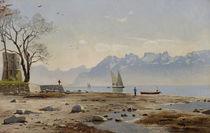 Genfer See mit Tour Haldimand / Gemälde von P.Mönsted von AKG  Images