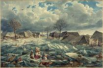 Wien, Hochwasser 1830,  Leopoldau / Aquarell von E. Gurk by AKG  Images