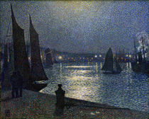 "Th. v. Rysselberghe, ""Moonlight over the Port of Boulogne"" / painting by AKG  Images"