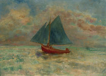 O.Redon, Red Boat with Blue Sail / Painting by AKG  Images