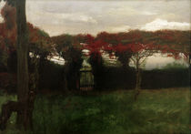 Red Arbour with Dog / M. Slevogt / Painting 1897 by AKG  Images