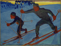 Akseli and Jorma Skiing / A.Gallen-Kallela / Painting, 1909 by AKG  Images