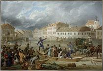 Ferdinand I. von Österreich im Wiener Hochwasser 1830 / Aquarell von E. Gurk by AKG  Images