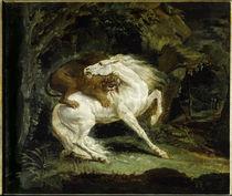 Th. Géricault, Pferd, von Löwe angegriff. by AKG  Images