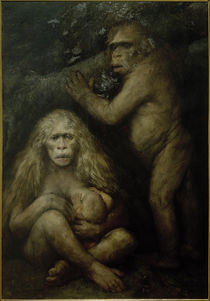 Stammesgeschichte d.Menschen, Pithecanthropus alalus / Gem.v. G.v.Max by AKG  Images