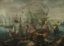 Seeschlacht bei Gibraltar, 1607 / Gemälde, um 1621, von C.C. v. Wieringen von AKG  Images
