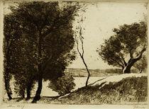 Lesser Ury, Baumbestandenes Ufer am märkischen See von AKG  Images