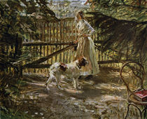 At the Garden Fence / F. v. Uhde / Painting by AKG  Images