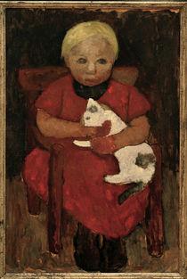 P.Modersohn-Becker, Bauernkind mit Katze von AKG  Images