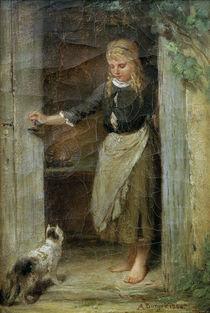 Anton Burger, Mädchen mit Katze von AKG  Images