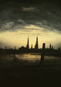 Friedrich / City at moonrise /  c. 1825 by AKG  Images