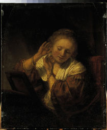 Rembrandt, Young Woman w. Earrings / Ptg. by AKG  Images