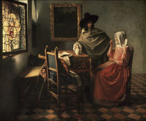 Vermeer / Man a. woman drinking wine/c. 1660 by AKG  Images
