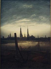 C.D.Friedrich, City at Moonrise / Paint. by AKG  Images