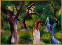 August Macke, Girl and blue birds by AKG  Images