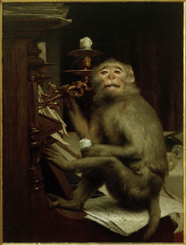 Gabriel von Max, Monkey at the piano by AKG  Images