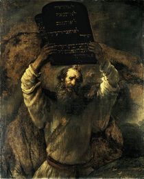 Rembrandt / Moses breaking tablets by AKG  Images