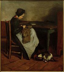 M. Liebermann, Nähendes Mädchen mit Katze - Holländisches Interieur von AKG  Images