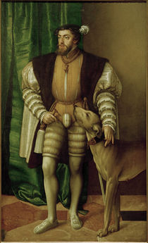 Charles V / Portrait with his dog / 1532 by AKG  Images