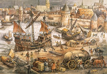 In the port of a Hanseatic town / Print by AKG  Images