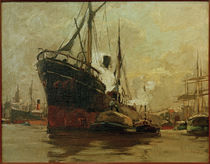 Steamship in a Harbour / L. Sandrock / Paitning by AKG  Images