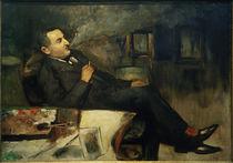 Lesser Ury, rauchend im Atelier (Selbstbildnis) von AKG  Images