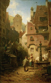 Well-Wisher Presenting Flowers / C. Spitzweg / Painting c.1870 by AKG  Images