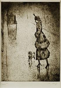 L.Ury, Dame mit Pudel auf regennasser Straße (Droschke links) by AKG  Images