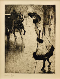 L.Ury, Dame, eine Pferdedroschke rufend by AKG  Images