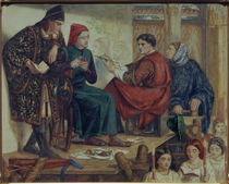 Giotto Painting Portrait of Dante / D. G. Rossetti / Watercolour by AKG  Images