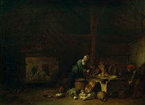 Kitchen Interior / C. Spitzweg after Poel / Painting c.1849 by AKG  Images