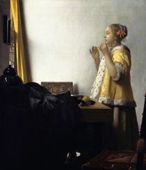 Woman with a Pearl Necklace / J. Vermeer / Painting, c.1664 by AKG  Images
