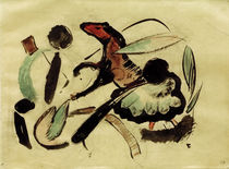Franz Marc, Jumping horse with plant forms by AKG  Images