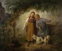 J. B. Zwecker, Zwei Kinder mit einem Spitz by AKG  Images
