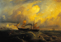 Spanish Paddle Steamer Isabel II / A. Brugada / Painting, 1842 by AKG  Images