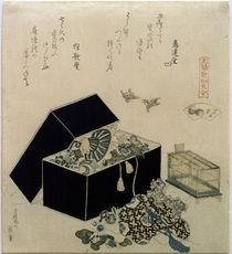 Hokusai, Spatzenmuschel / Farbholzschnitt 1821 von AKG  Images