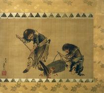Kanzan und Jittoku / Hängerolle von Hokusai, 1826–1833 by AKG  Images