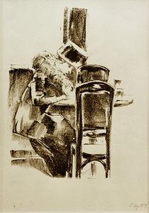 L.Ury, Schreibende Dame mit Hut und Boa im Kaffee von AKG  Images