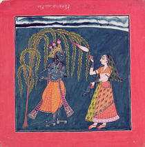 Krishna playing a flute, from the 'Vahula Raga' by Pahari School