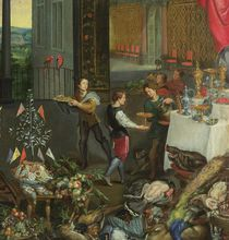 Allegory of Taste, detail of servers bringing wine by Jan Brueghel the Elder
